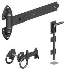 black gate ironmongery set for pair of gates
