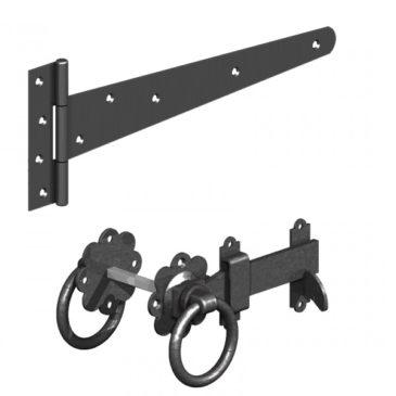black tee hinge and gate latch