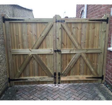 Pair of Gates, full framed redwood gates