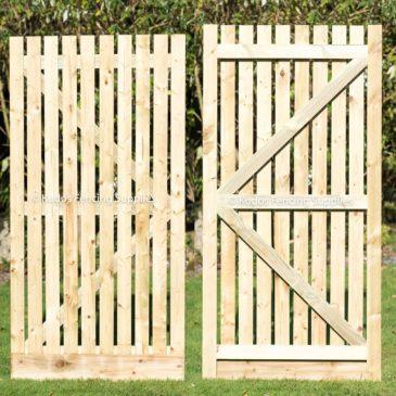 Wooden palisade gate. Garden side gates.