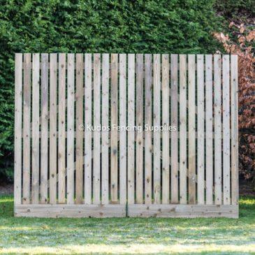 Wooden palisade driveway gates