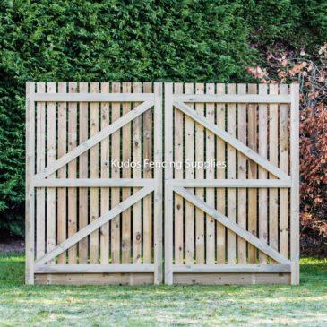 Wooden palisade driveway gate frame